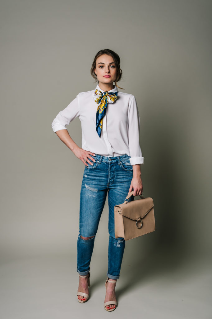 ef1929ba12b ... the Blue ming Buttercup Satin Scarf from Spring 2016 as a pussy-bow  around the shirt collar and matched the pink heels with the Top Handle Bag  from our ...